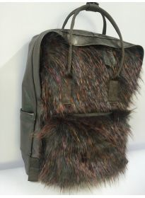 Multicolor Fur backpack PU backside