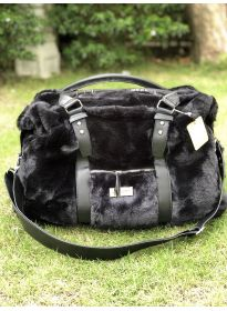 Black Fur Fashion Travel Bag